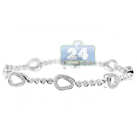 Womens Diamond Station Tennis Bracelet 14K White Gold 1.10 ct