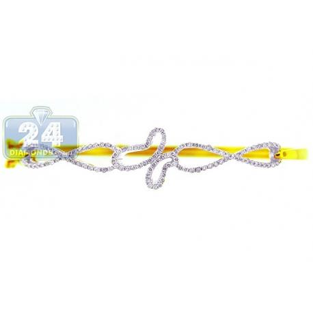 Womens Diamond Butterfly Round Bangle Bracelet 14K Yellow Gold