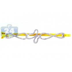14K Yellow Gold 0.66 ct Diamond Butterfly Round Bangle Bracelet