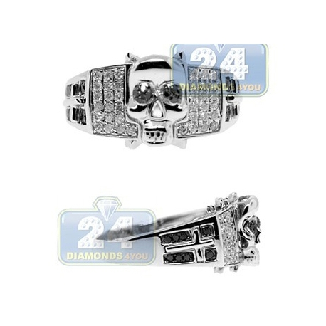 14K White Gold 0.50 ct Mixed Black Diamond Mens Skull Ring