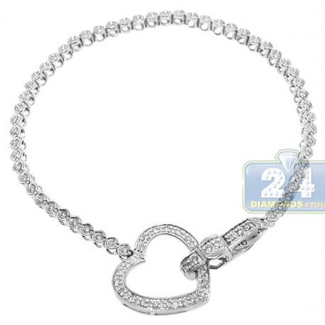 Womens Diamond Heart Tennis Bracelet 14K White Gold 0.88 ct 7""