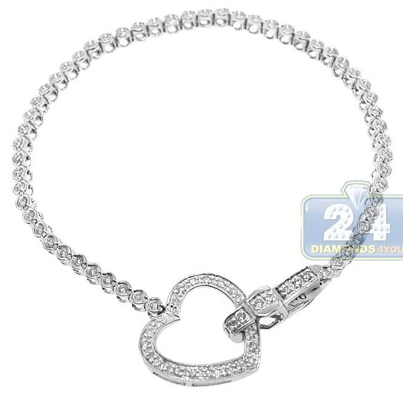 14k White Gold 0 88 Ct Diamond Heart Womens Tennis Bracelet