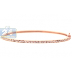 14K Rose Gold 0.58 ct Diamond Womens Round Bangle Bracelet