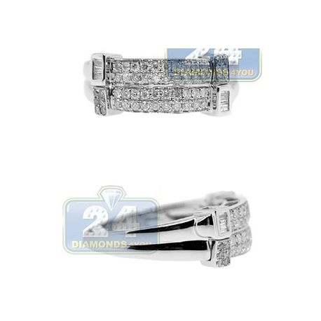 14K White Gold 0.55 ct Baguette Diamond Mens Rectangle Ring