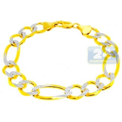 10K Two Tone Gold Figaro Link Mens Bracelet 12 mm 9 Inches
