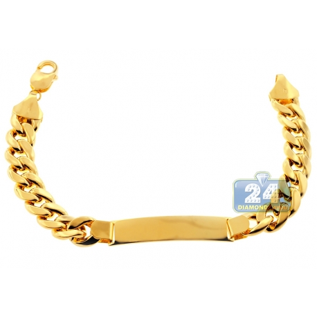 Hollow 10K Yellow Gold Miami Cuban Link Mens ID Bracelet 11mm 9""