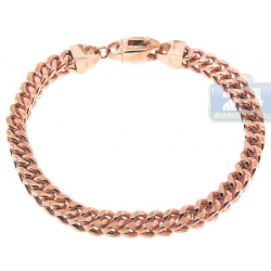 10K Rose Gold Franco Link Mens Bracelet 6 mm 9 Inches