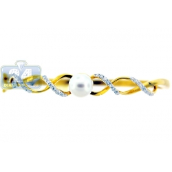14K Yellow Gold Pearl Diamond Womens Round Bangle Bracelet