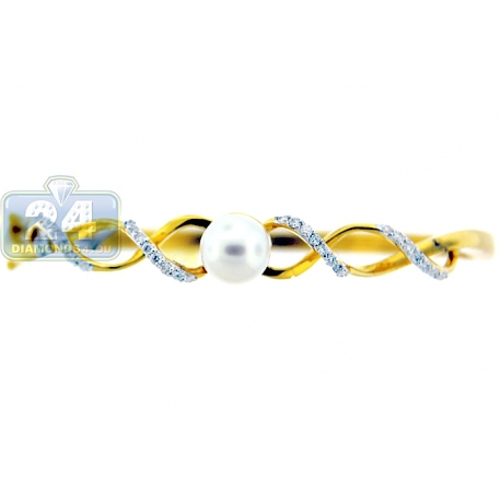Womens Pearl Diamond Round Bangle Bracelet 14K Yellow Gold 7""