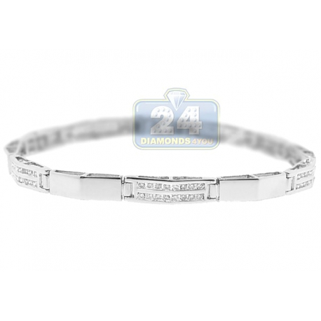 Womens Channel Set Diamond Tennis Bracelet 14K White Gold 1.03 ct
