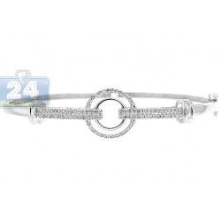 14K White Gold 0.50 ct Diamond Circle Link Womens Bangle Bracelet