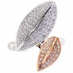 14K Two Tone Gold 0.77 ct Diamond Double Leaf Womens Ring