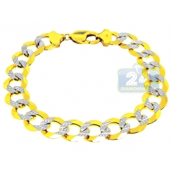 10K Two Tone Gold Curb Diamond Cut Bracelet 12 mm 9 1/4 Inches