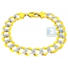 10K Two Tone Gold Curb Diamond Cut Link Mens Bracelet 12mm 9.25""