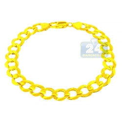 Solid 10K Yellow Gold Curb Link Mens Bracelet 10 mm 9 Inches