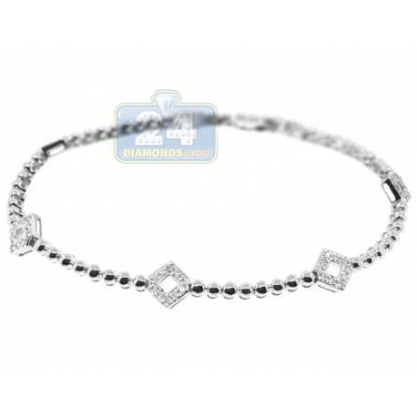 Womens Diamond Station Tennis Bracelet 14K White Gold 0.50 ct