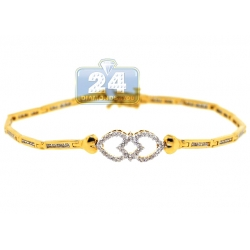 14K Yellow Gold 0.82 ct Diamond Heart Link Womens Bracelet
