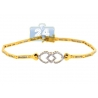 Womens Diamond Heart Link Bracelet 14K Yellow Gold 0.82 ct 7""