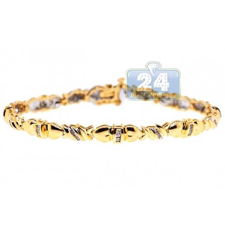 14k Yellow Gold 0 56 Ct Diamond Link Womens Bracelet 5 Mm