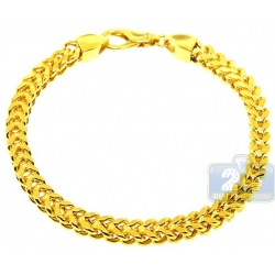 10K Yellow Gold Solid Franco Mens Bracelet 6 mm 9 1/4 Inches