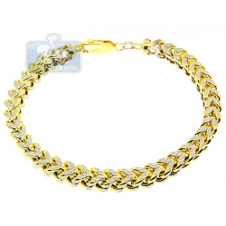 10K Two Tone Gold Franco Diamond Cut Mens Bracelet 6 mm 9 Inch