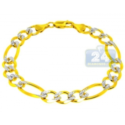 10K Two Tone Gold Figaro Diamond Cut Men Bracelet 10 mm 9.25 Inch