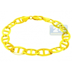 10K Yellow Gold Solid Mariner Link Mens Bracelet 11 mm 9.5 Inch