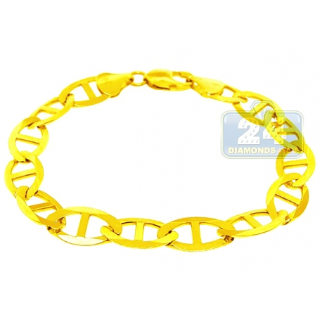 """Solid 10K Yellow Gold Solid Mariner Link Mens Bracelet 11mm 9.5"""""""