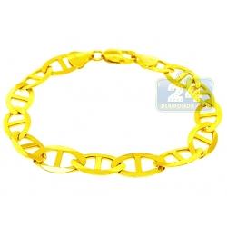 10K Yellow Gold Solid Mariner Link Mens Bracelet 11 mm 9.5 Inch