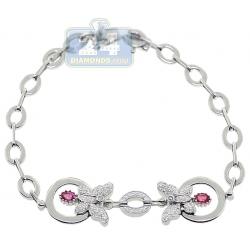"Womens Diamond Tourmaline Butterfly Bracelet 14K White Gold 7"""
