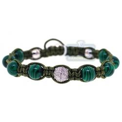 Diamond Malachite Ball Adjustable Bracelet 14K White Gold Shambala
