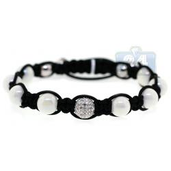 Diamond Pearl Bead Adjustable Bracelet 14K White Gold Shambala