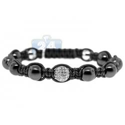 Diamond Onyx Bead Adjustable Bracelet 14K White Gold Shambala