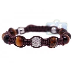 Diamond Tiger Eye Bead Adjustable Bracelet 14K White Gold Shambala