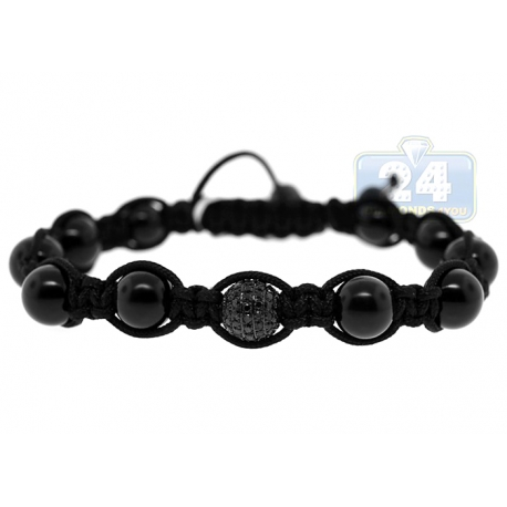 Black Diamond Onyx Bead Bracelet Stainless Steel Shambala 2.20 ct