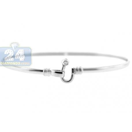 Womens Single Diamond Hook Round Bangle Bracelet 14K White Gold