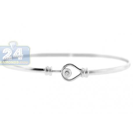 Womens Diamond Hook Knot Round Bangle Bracelet 14K White Gold