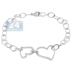 14K White Gold Diamond Two Hearts Womens Link Bracelet