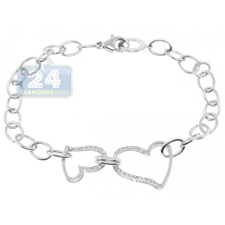 Womens Two Hearts Cable Link Bracelet 14K White Gold Diamond 7""