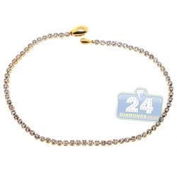 14K Yellow Gold 1.53 ct Diamond Womens Tennis Bracelet 2 mm