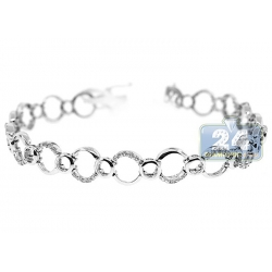14K White Gold 0.60 ct Diamond Open Circle Womens Bracelet