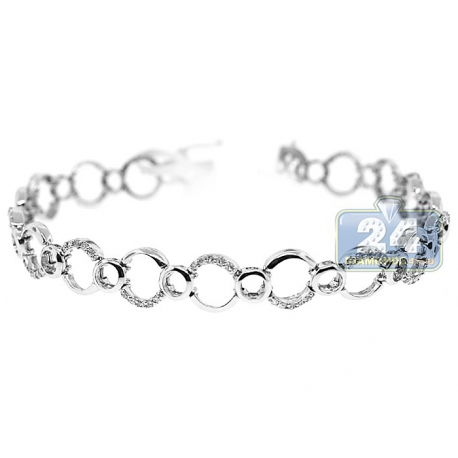 Womens Diamond Open Circle Link Bracelet 14K White Gold 0.60 ct