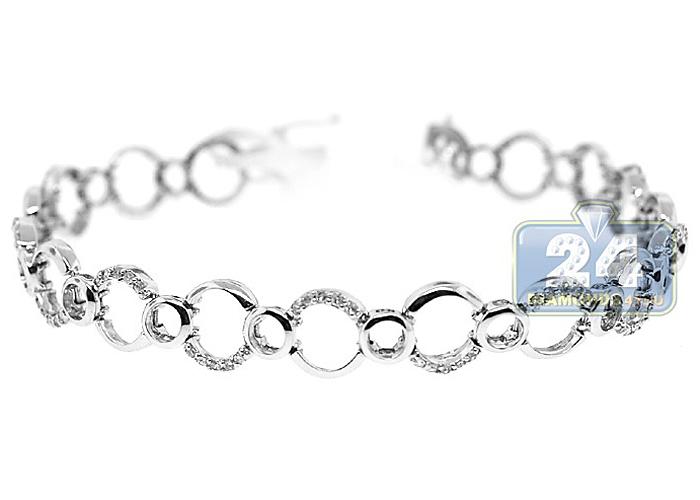 Link Bracelet 14k White Gold 0 60 Ct