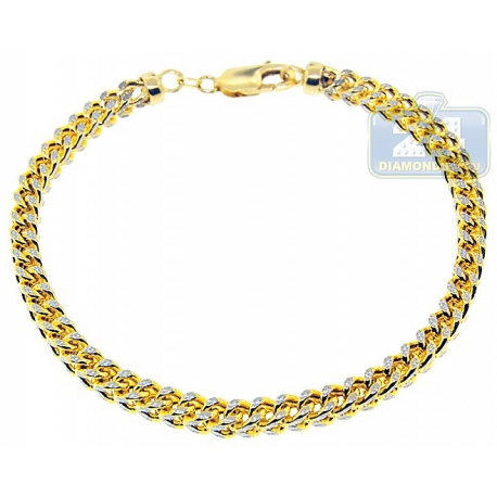 Real 10K Two Tone Gold Franco Diamond Cut Mens Bracelet 5mm 10""