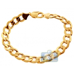 10K Yellow Gold Hollow Flat Cuban Link Mens Bracelet 11mm 9""