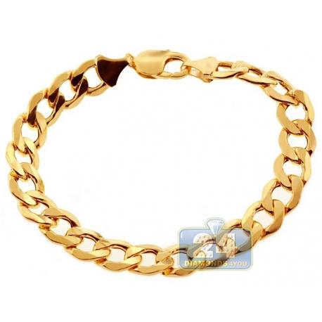 "10K Yellow Gold Hollow Flat Cuban Link Mens Bracelet 11mm 9"""
