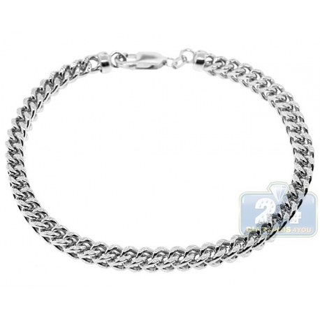 Real 10K White Gold Franco Diamond Cut Mens Bracelet 5mm 9.75""