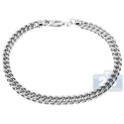 10K White Gold Franco Diamond Cut Mens Bracelet 5 mm 9 3/4 Inch