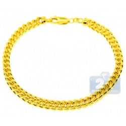 Real 10K Yellow Gold Franco Diamond Cut Mens Bracelet 5mm 9.5""