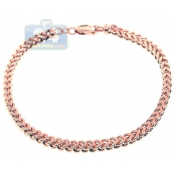 10K Rose Gold Hollow Franco Mens Bracelet 5 mm 9 1/2 Inches
